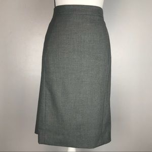 Ann Taylor Gray Pencil Skirt Kick Pleat Back 8